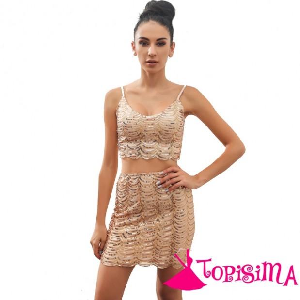 Vestido Corto Lentejuelas Dorado 2 Piezas