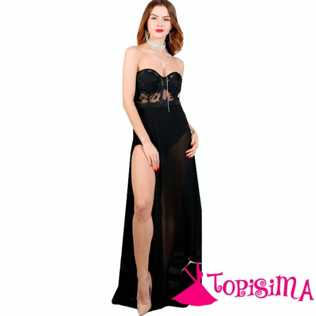 Vestido negro strapless