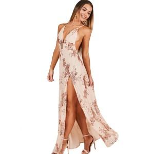 Vestido largo nude y lentejuelas2