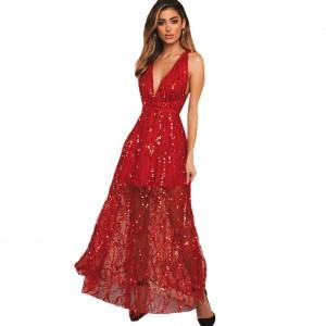 Vestido largo lentejuelas rojo