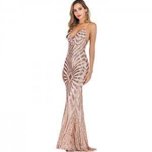 Vestido Largo Dorado Sirena