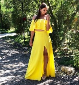 Vestido Maxi Amarillo 2 Piezas