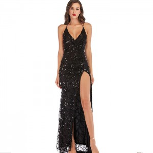 Vestido Largo Negro Lentejuelas